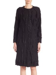 St. John Wool Blend Fringe Trimmed Coat Caviar