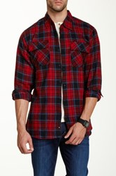 Burnside Spread Collar Long Sleeve Plaid Flannel Shirt Red