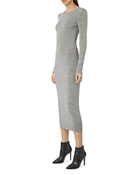 Allsaints Sade Reversible Knit Dress Light Gray Black