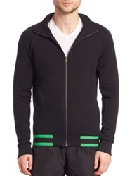 Tomas Maier Zip Front Cotton Sweater Black