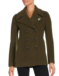 Karl Lagerfeld Double Breasted Peacoat Olive