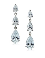 Lord And Taylor Sterling Silver Cubic Zirconia Triple Drop Earrings