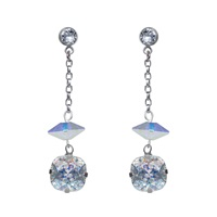 Nadia Minkoff Silver Crystal And Spike Earrings
