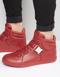 Asos High Top Trainers In Red With Strap Red