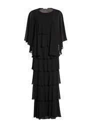 Gina Bacconi Beaded Edge Tiered Maxi Dress And Shawl Black