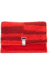 Proenza Schouler The Lunch Bag Small Shearling And Leather Clutch Red
