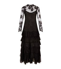 Alessandra Rich Tiered Chantilly Lace Gown Female Black