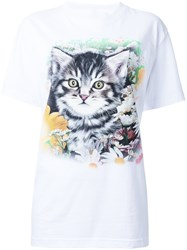 Wall Cat Print T Shirt White
