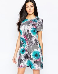 Paper Dolls Shift Dress In Large Floral Print Multi