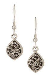 Lois Hill Sterling Silver Small Granulated Drop Earrings Metallic
