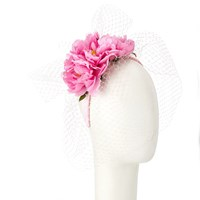 John Lewis Rita Satin Flower Headband Fascinator Pink