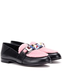 Fendi Embellished Leather And Shearling Loafers Multicoloured