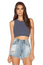 Bobi Striped Heavy Spandex Crop Top Navy