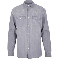 River Island Mens Grey Western Denim Shirt