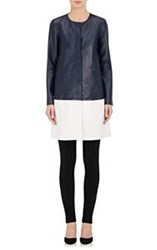 Lisa Perry Colorblocked Leather Coat Blue