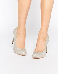 Faith Cadles Metallic Thread Heeled Court Shoes Silver