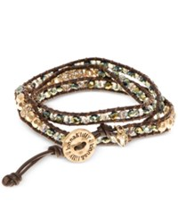 Lonna And Lilly Gold Tone Brown Cord Beaded Wrap Bracelet