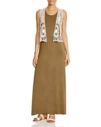 Design History Lace Vest Maxi Dress Camouflage Heather