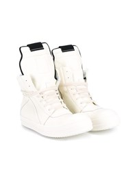 Rick Owens Geobasket Leather High Top Trainers White Almond Black