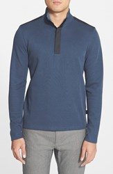 Men's Boss 'Persano' Regular Fit Quarter Zip Sweatshirt Dusty Blue