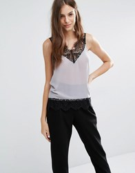 Sisley Sleeveless Lace Top 247 Grey