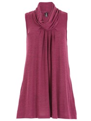 Izabel London Knit Tunic Top With Cowl Neckline Purple