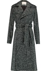 Goat Astoria Belted Wool Blend Tweed Coat Emerald