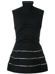 J.W.Anderson Flared Sleeveless Striped Blouse Black
