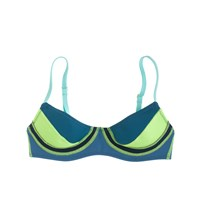 J.Crew Cynthia Rowley Colorblock Bikini Top Navy Blue Lime