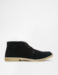 Frank Wright Suede Desert Boots With Faux Shearling Lining Black
