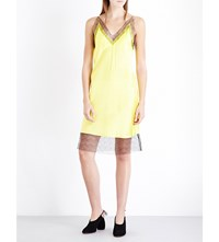 Walk Of Shame Lace Trim Silk Satin Slip Dress Yellow