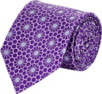 Penrose London Daisy Jacquard Neck Tie Purple