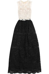 Mikael Aghal Guipure And Corded Lace Gown Black