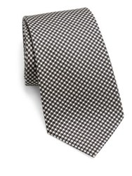 Ralph Lauren Houndstooth Pattern Silk Tie Black White