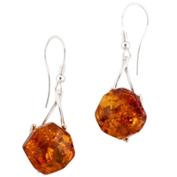 Be Jewelled Amber Facet Style Earrings Cognac