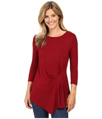 Vince Camuto 3 4 Sleeve Side Ruched Top Malbec Red Women's Clothing Burgundy