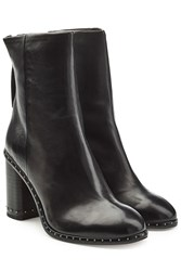 Rag And Bone Leather Ankle Boots With Studded Trim Black
