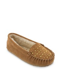 Minnetonka Rhinestone Suede And Faux Fur Lined Slippers Cinnamon