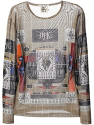 Jean Paul Gaultier Vintage Printed Sheer T Shirt Multicolour