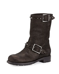 Jimmy Choo Dash Metallic Spiked Biker Boot Anthracite