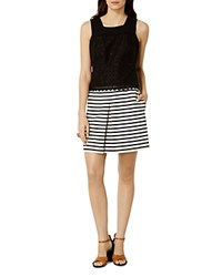 Karen Millen Stripe Broderie Mini Dress Black White