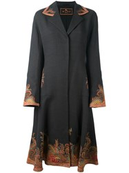 Etro Paisley Print Trim Fitted Coat Grey
