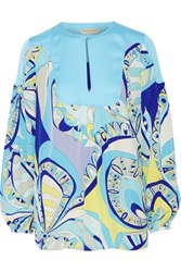 Emilio Pucci Satin Paneled Printed Silk Georgette Blouse Sky Blue