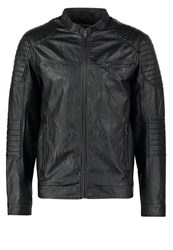 Jack And Jones Jorpoul Faux Leather Jacket Black