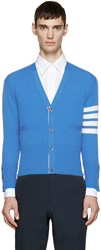 Thom Browne Blue Cashmere Striped Armband Cardigan