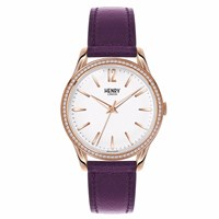 Henry London Unisex Hampstead Leather Strap Watch And Stoneset Bezel White Rose Gold Pink