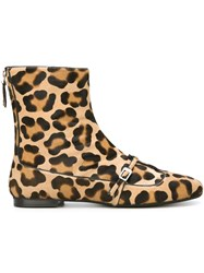 N 21 N.21 Leopard Print Ankle Boots Nude And Neutrals