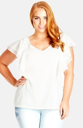 City Chic 'Ruffle My Feathers' Top Plus Size Ivory Ivory