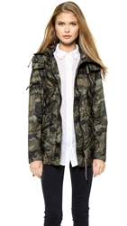 Sam. Camo Mini Hudson Parka With Packable Pouch Olive Camo