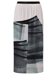 John Lewis Kin By Limited Edition Pleated Print Skirt Black White